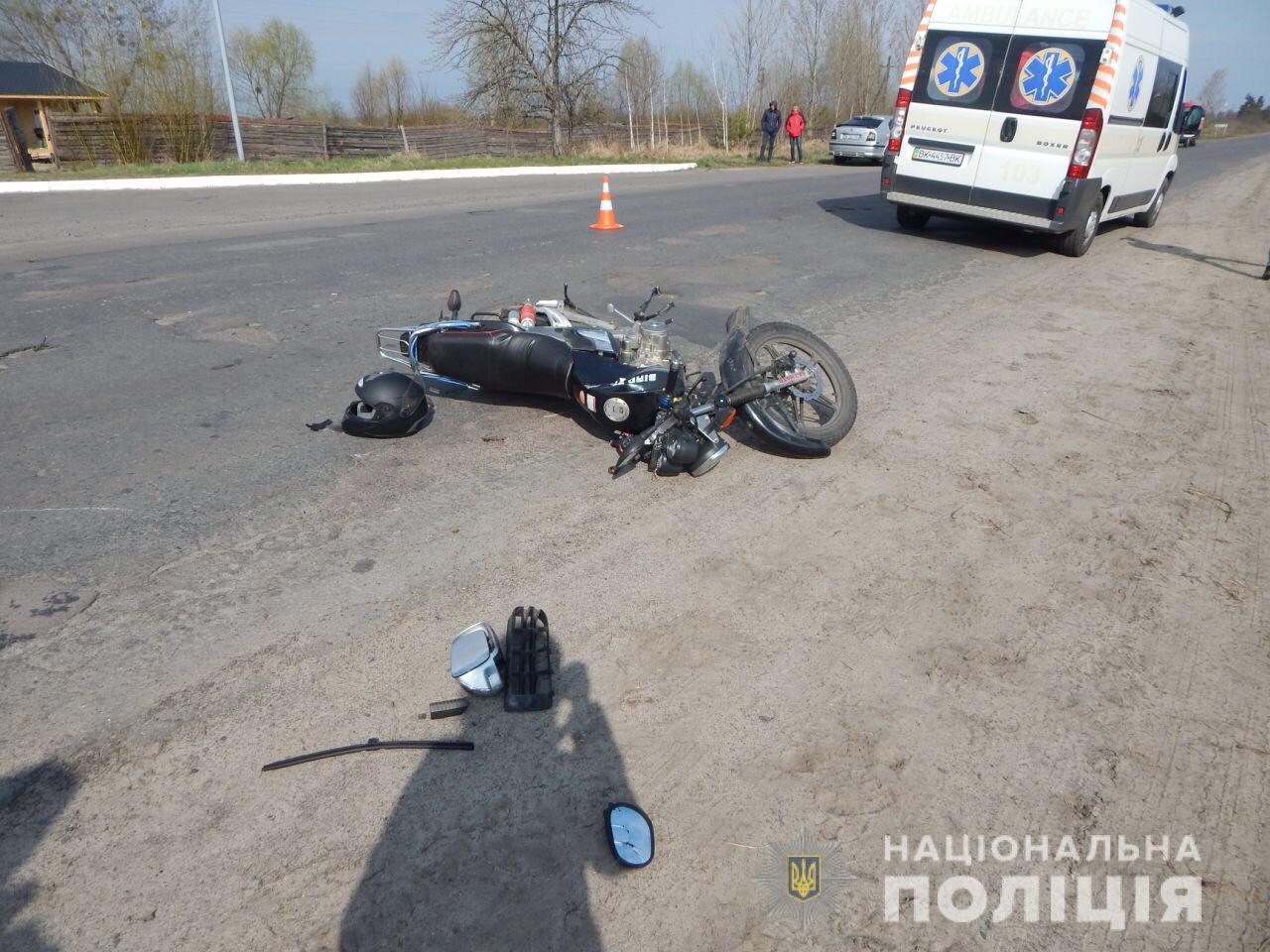 На Волині п'яний мотоцикліст вилетів на зустрічну і збив пішохода