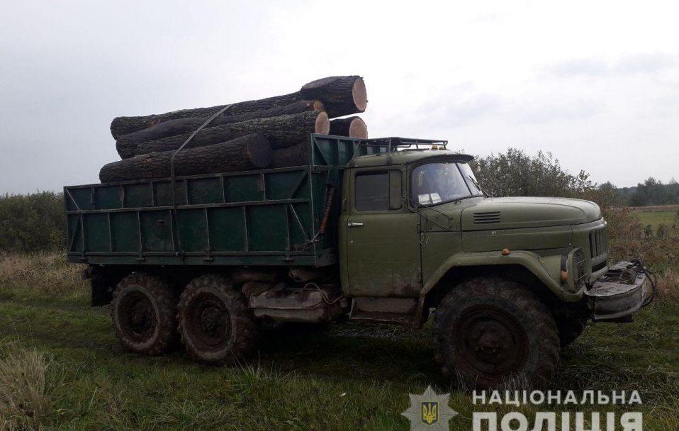 На Волині зловили трактор і вантажівку з краденим лісом. ФОТО