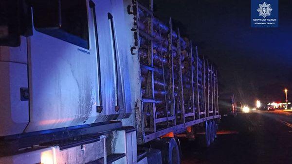 На Волині зловили вантажівку з незаконним лісом. ФОТО