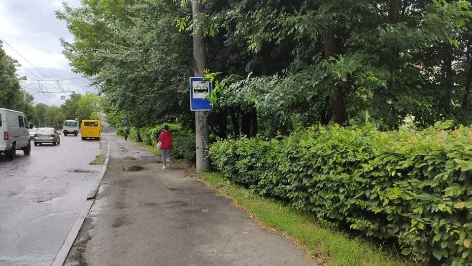 Біля входу в центральний парк у Луцьку тепер є зупинка. ФОТО